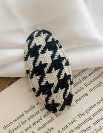 Fashion Oval-off-white Houndstooth Fabric Oval Hair Clip