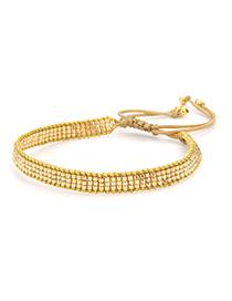 Fashion Golden Rice Beads Woven Bracelet