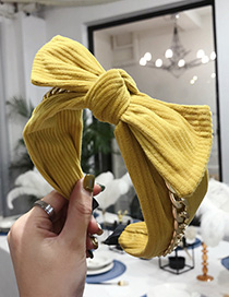 Fashion Yellow Striped Creased Chain Knotted Wide-edged Bow Headband