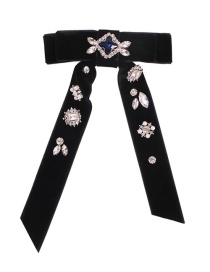 Fashion Black Brooch With Diamonds And Pearl Bow