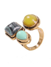 Fashion Opening Color Alloy Turquoise Geometric Open Ring