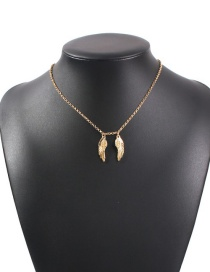Fashion Golden Alloy Feather Wings Necklace