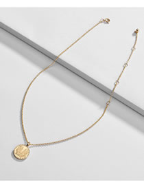 Fashion Golden Alloy Embossed Round Leaf Necklace