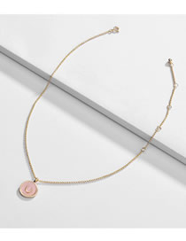 Fashion Pink Alloy Drip Oil U-shaped Round Necklace