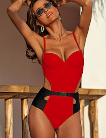 Fashion Red Contrast Stitching One-piece Swimsuit