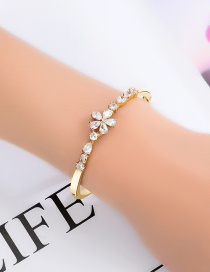 Fashion Golden Geometric Bangle With Flower Drops In Diamonds