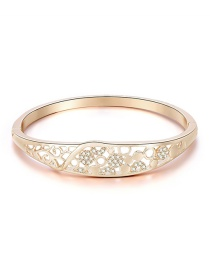 Fashion Rose Gold Cutout Round Bracelet With Diamonds