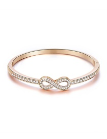 Fashion Rose Gold Alloy Diamond Hollow Lucky Number 10 Bracelet