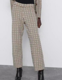 Fashion Lattice Houndstooth Knitted Pants