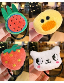 Fashion Color Plush Watermelon Duck Strawberry Hair Rope Set