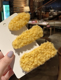 Fashion Yellow Lambskin Hair Clip Set Of 3 Lambskin Geometric Hair Clip Set