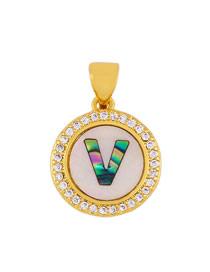 Fashion Golden V Alphabet Round Shell Diamond Necklace