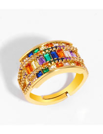 Fashion Color Geometric Openwork Ring With Diamonds