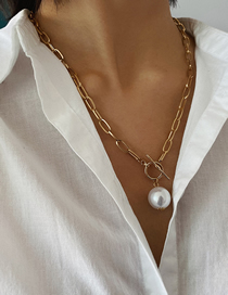 Fashion Golden Geometric Pearl T Buckled Mashup Necklace