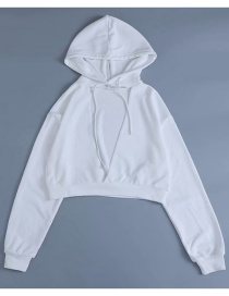 Fashion White Deep V Hooded Sweater