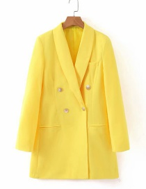 Fashion Yellow Double-breasted Suit Dress