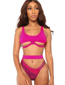 Fashion Rose Red Printed Cutout Contrast Panel Split Swimsuit