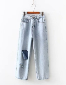 Fashion Blue Washed Ripped Jeans