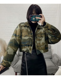 Fashion Green Camouflage Print Jacket Style Cotton Coat