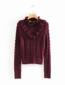 Fashion Wine Red Stacked Ruffled Cutout Knitted Sweater