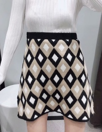 Fashion Khaki Diamond Pattern Jacquard A-line Skirt