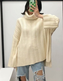 Fashion White Turtleneck Knitted Sweater