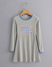 Fashion Gray Round Neck Letter Print A-line Dress