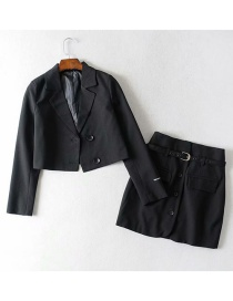 Fashion Black Striped Double-breasted Suit + Single-breasted Skirt Suit