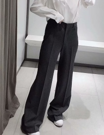 Fashion Gray Pleated Straight Pants