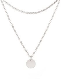 Fashion Steel Color Disc Double Layer Stainless Steel Necklace