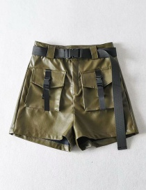Fashion Army Green Tooling Pu Leather Shorts