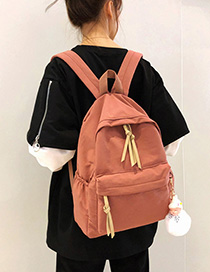 Fashion Brick Red With Pendant Stitched Fringed Plain Backpack