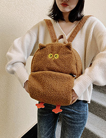 Fashion Brown Plush Owl Backpack