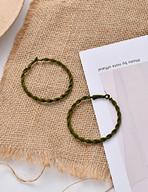 Fashion Green Flocked Round Spiral Earrings