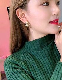 Fashion Golden Metal Double Round Earrings