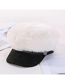Fashion White Plush Leather Strap Stitching Beret