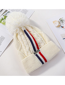 Fashion White Knitted Colorblock Striped Plus Fleece Hat