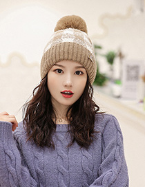 Fashion Khaki Color-block Plaid Plush Ball-trimmed Knitted Hat