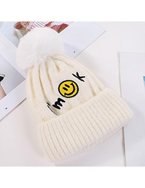 Fashion White Embroidered Smiley Letters Plus Velvet Knitted Hat