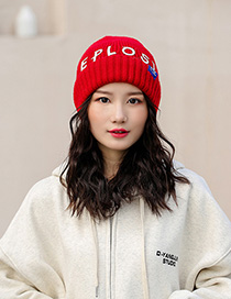 Fashion Red Knitted Hat With Printed Letters