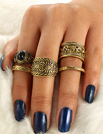 Fashion Golden Elephant Snowflake Embossed Geometric Finger Set