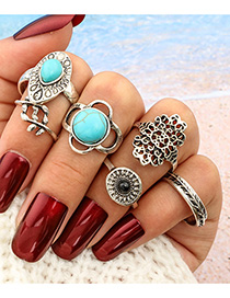 Fashion Silver Leaf Flower Turquoise Cutout Ring Set