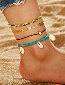 Fashion Color Pentagram Shell Multilayer Anklet Set