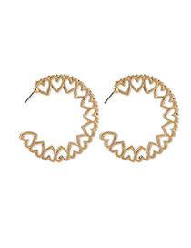 Fashion Golden Love Round Cutout Stud Earrings