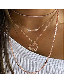 Fashion Golden Hollow Heart Arrow Multilayer Necklace