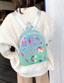 Fashion Figure Two Green Sequined Rainbow Star Backpack