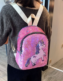 Fashion Powder Children's Backpack With Sequined Pony