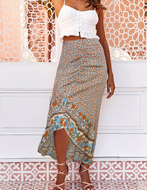 Fashion Beige Print Printed Floral Irregular Pleated Lace Skirt