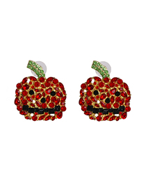 Fashion Red Pumpkin Ghost Ghost Earrings With Diamonds