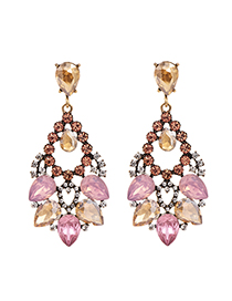 Fashion Pink Alloy Stud Earrings With Diamonds